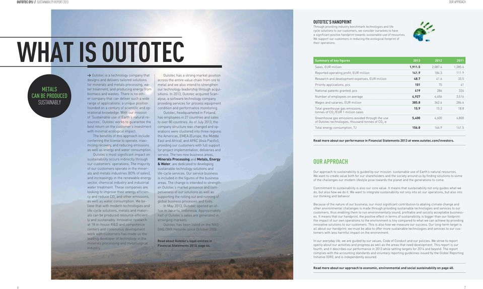 With our mission of Sustainable use of Earth s natural resources, Outotec works to guarantee the best return on the customer s investment with minimal ecological impact.