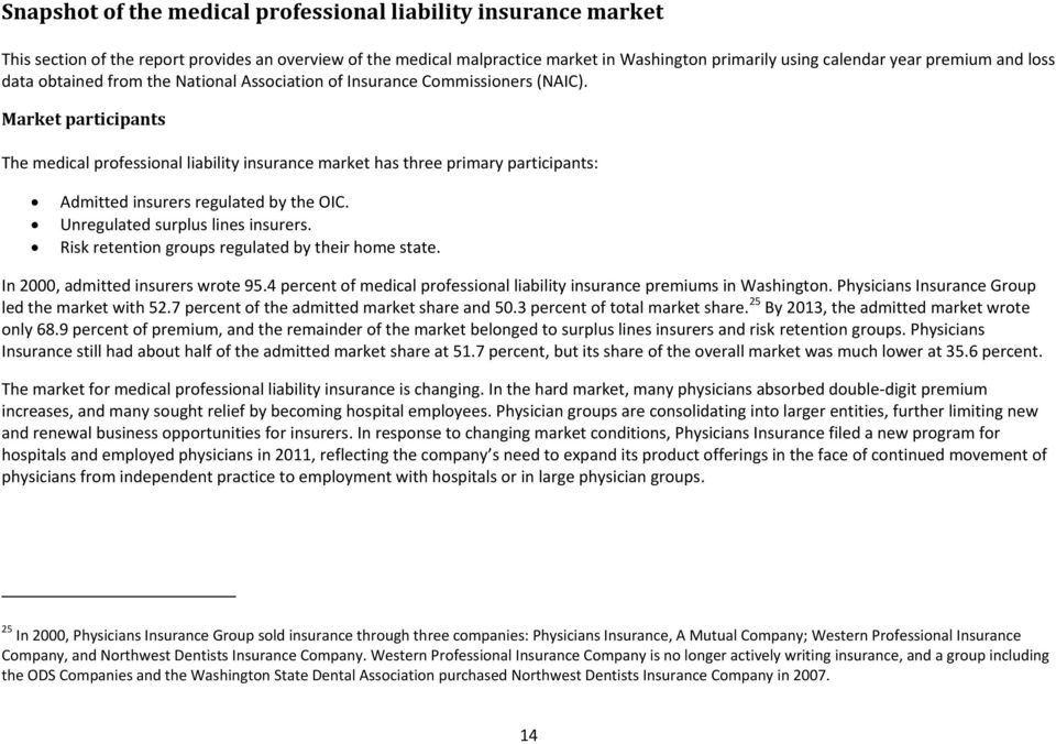 Market participants The medical professional liability insurance market has three primary participants: Admitted insurers regulated by the OIC. Unregulated surplus lines insurers.