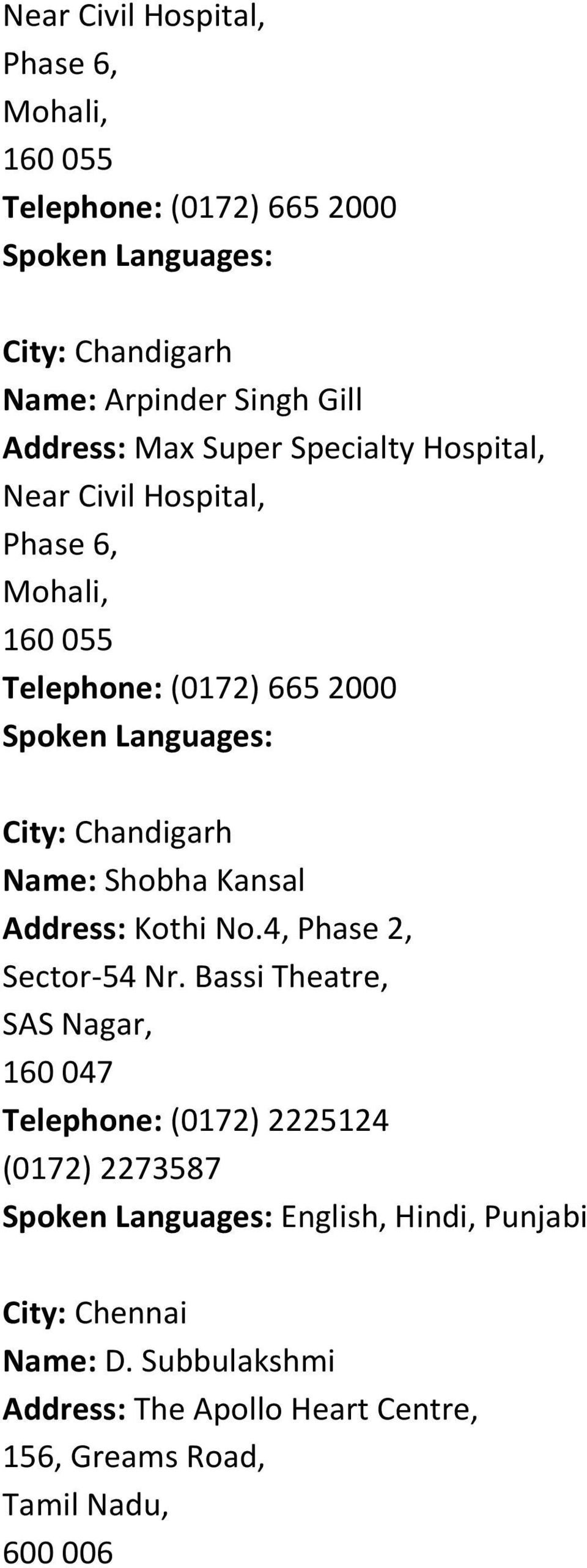 Kansal Address: Kothi No.4, Phase 2, Sector-54 Nr.