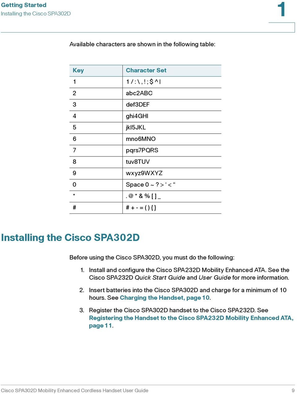 @ * & % [ ]_ # # + - = ( ) { } Installing the Cisco SPA30D Before using the Cisco SPA30D, you must do the following: 1. Install and configure the Cisco SPA3D Mobility Enhanced ATA.