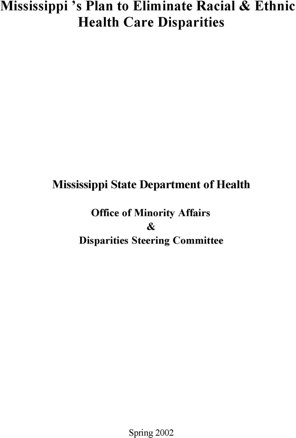 State Department of Health Office of Minority