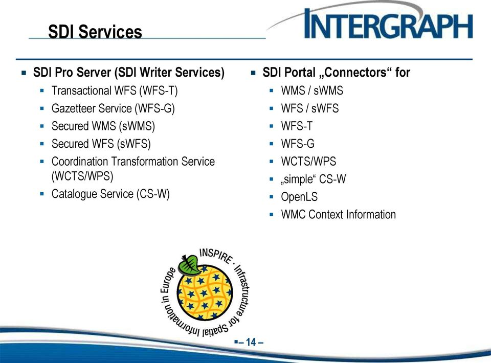 Transformation Service (WCTS/WPS) Catalogue Service (CS-W) SDI Portal Connectors