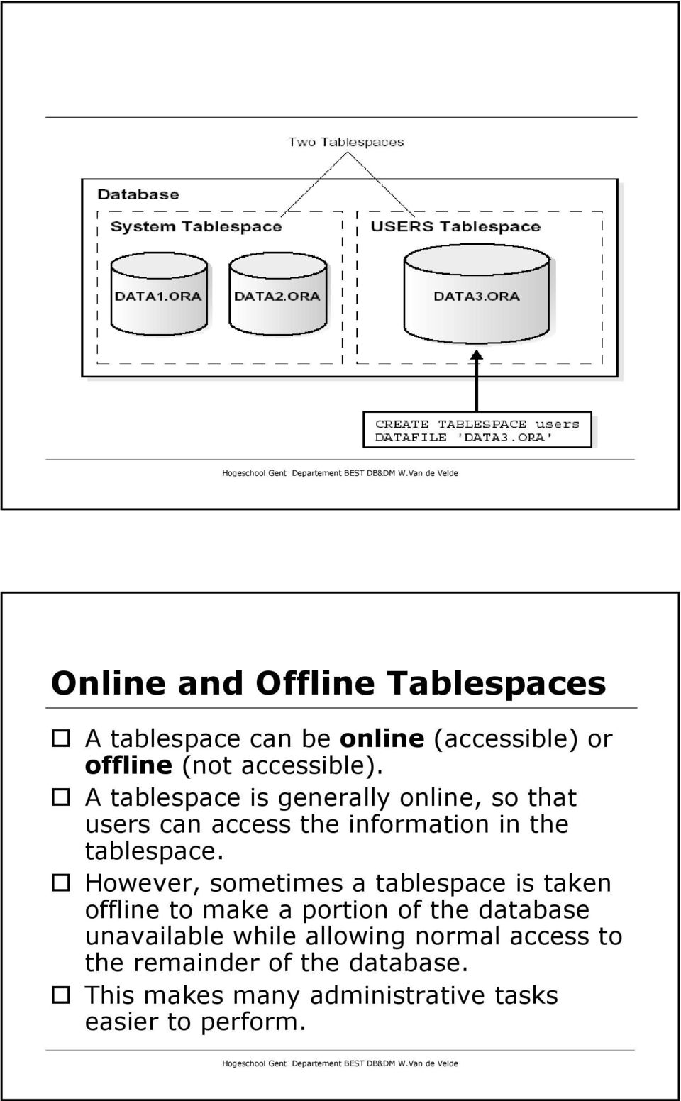 However, sometimes a tablespace is taken offline to make a portion of the database unavailable while