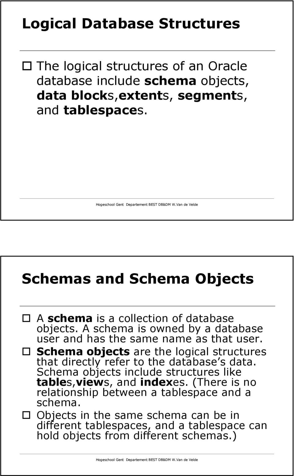 Schema objects are the logical structures that directly refer to the database s data. Schema objects include structures like tables,views, and indexes.