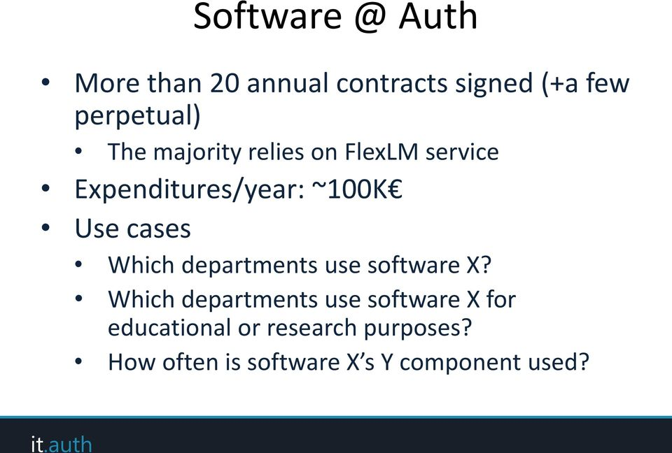 Which departments use software X?