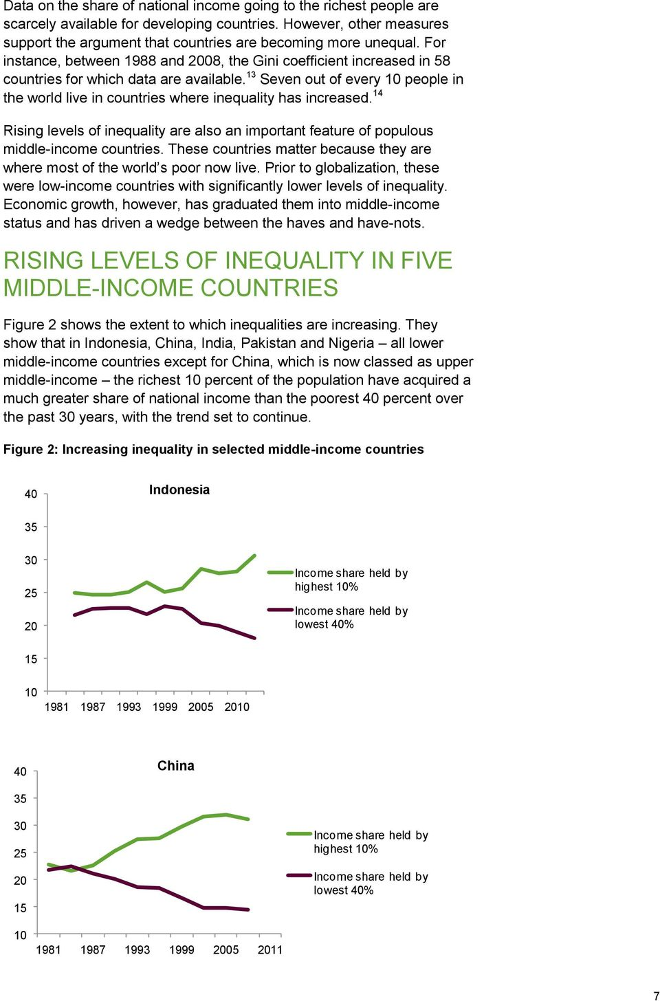13 Seven out of every 10 people in the world live in countries where inequality has increased. 14 Rising levels of inequality are also an important feature of populous middle-income countries.
