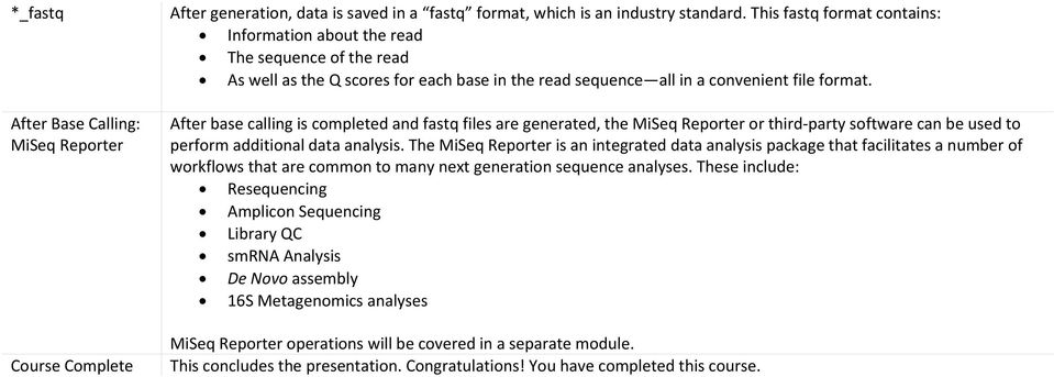 After base calling is completed and fastq files are generated, the MiSeq Reporter or third party software can be used to perform additional data analysis.
