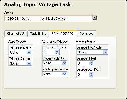 2. Enter a name for the new static task. 3. Select the device. For devices using the LabVIEW 8.6 Mobile Module, select the device that matches your installed hardware. 4. Select the acquisition type.