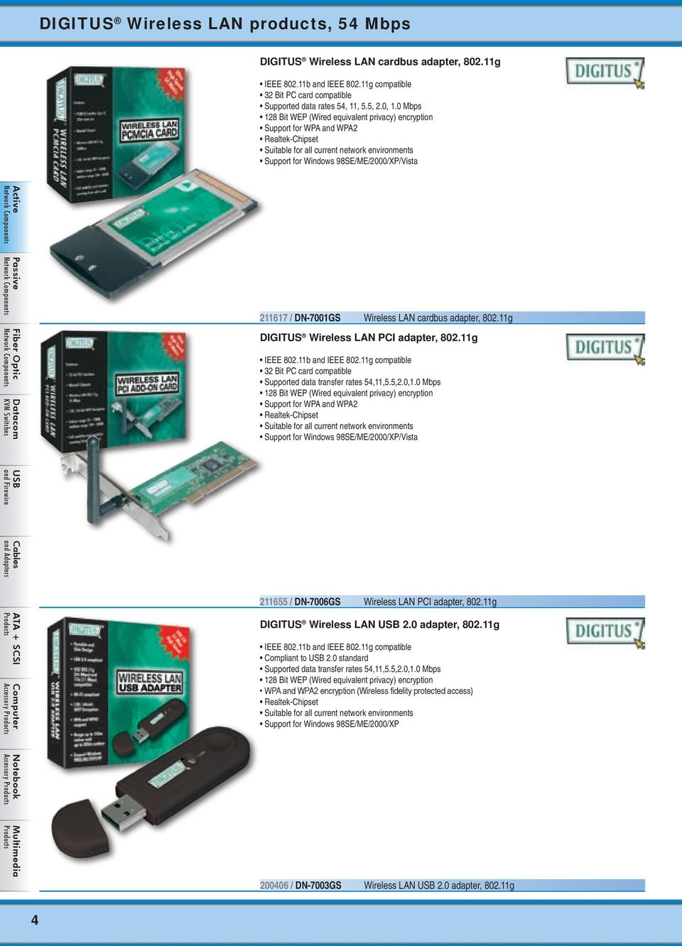 DN-7001GS Wireless LAN cardbus adapter, 802.11g DIGITUS Wireless LAN PCI adapter, 802.11g IEEE 802.11b and IEEE 802.11g compatible 32 Bit PC card compatible Supported data transfer rates 54,11,5.5,2.