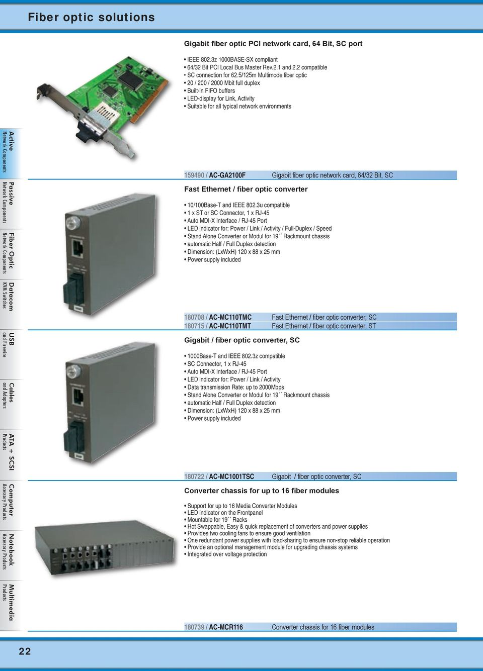 optic network card, 64/32 Bit, SC Fast Ethernet / fiber optic converter 10/100Base-T and IEEE 802.