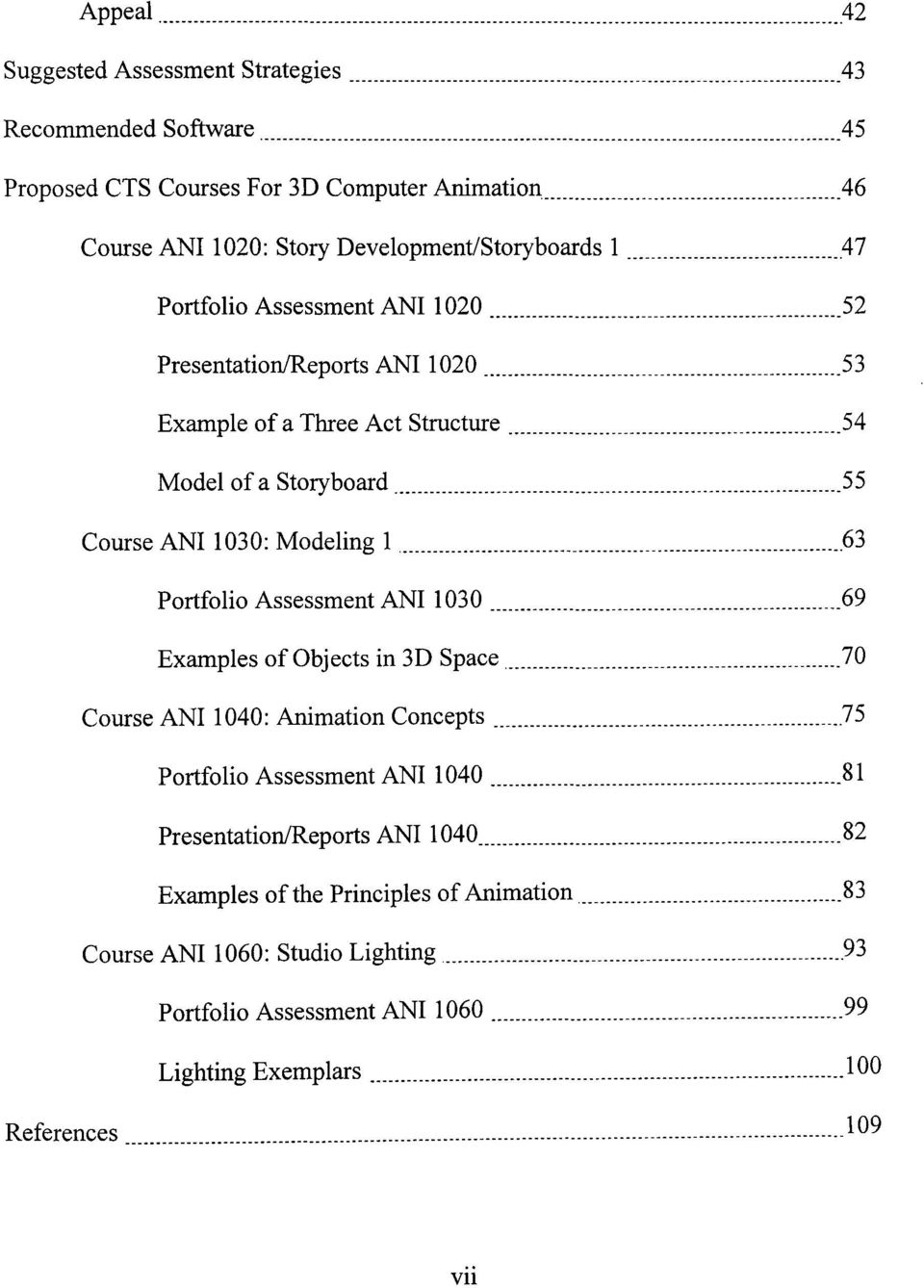 47 Portfolio Assessment ANI 1 020 52 PresentationlReports ANI 1 020 53 Example of a Three Act Structure 54 Model of a Storyboard. 55 Course ANI 1030: Modeling 1.