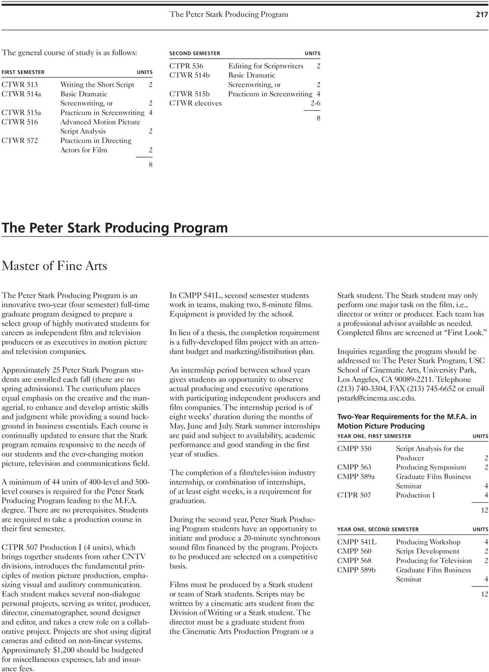 Screenwriting, or 2 CTWR 515b Practicum in Screenwriting 4 CTWR electives 2-6 8 8 The Peter Stark Producing Program Master of Fine Arts The Peter Stark Producing Program is an innovative two-year