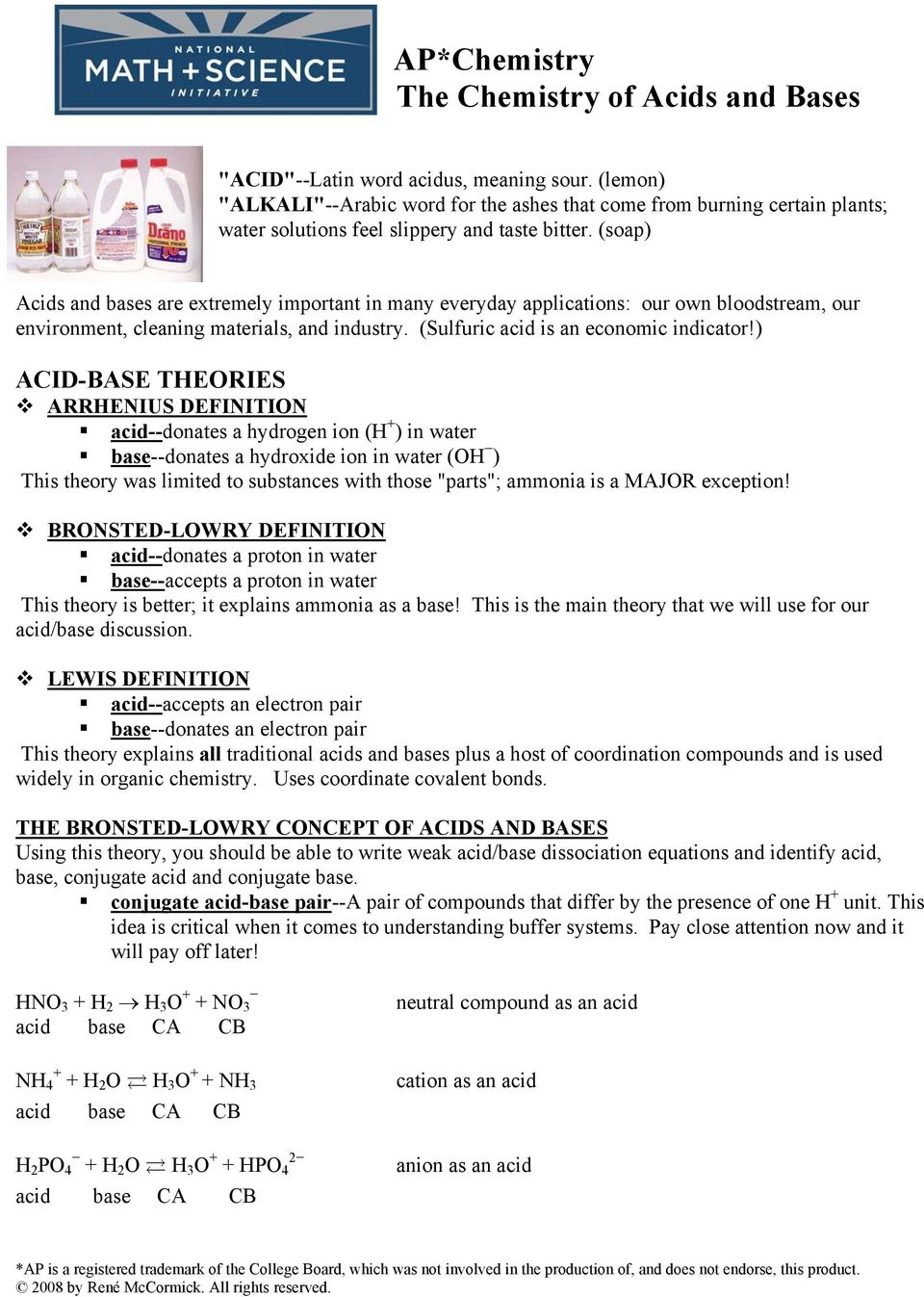 worksheet Bronsted Lowry Acids And Bases Worksheet Answers apchemistry the chemistry of acids and bases pdf soap are extremely important in many everyday applications our own