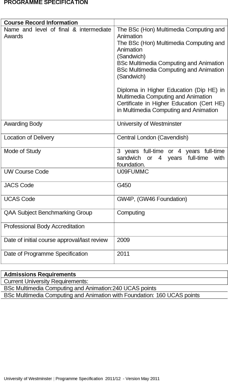 Education (Cert HE) in Multimedia Computing and Animation Awarding Body Location of Delivery Mode of Study UW Course Code JACS Code UCAS Code QAA Subject Benchmarking Group University of Westminster