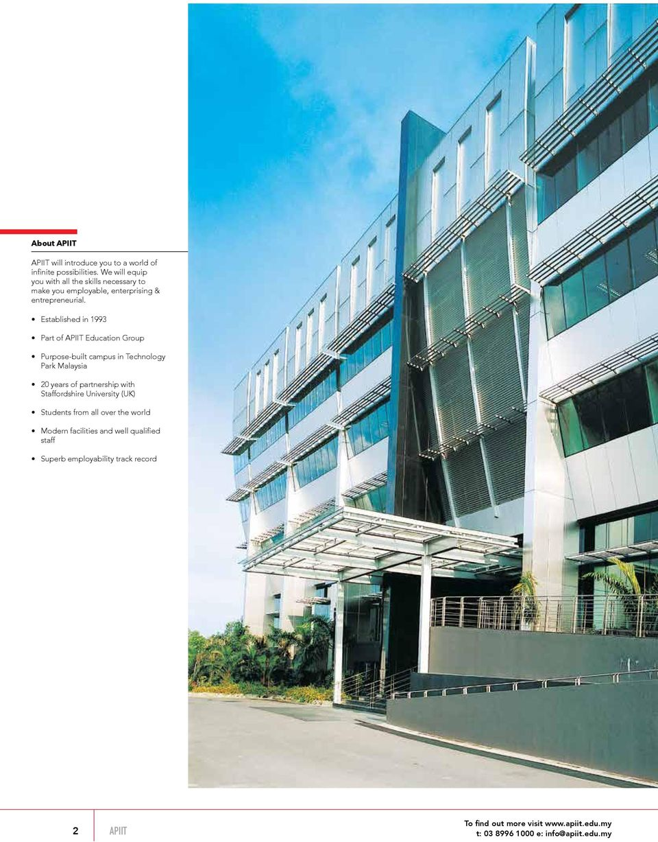 Established in 1993 Part of APIIT Education Group Purpose-built campus in Technology Park Malaysia 20 years of partnership with