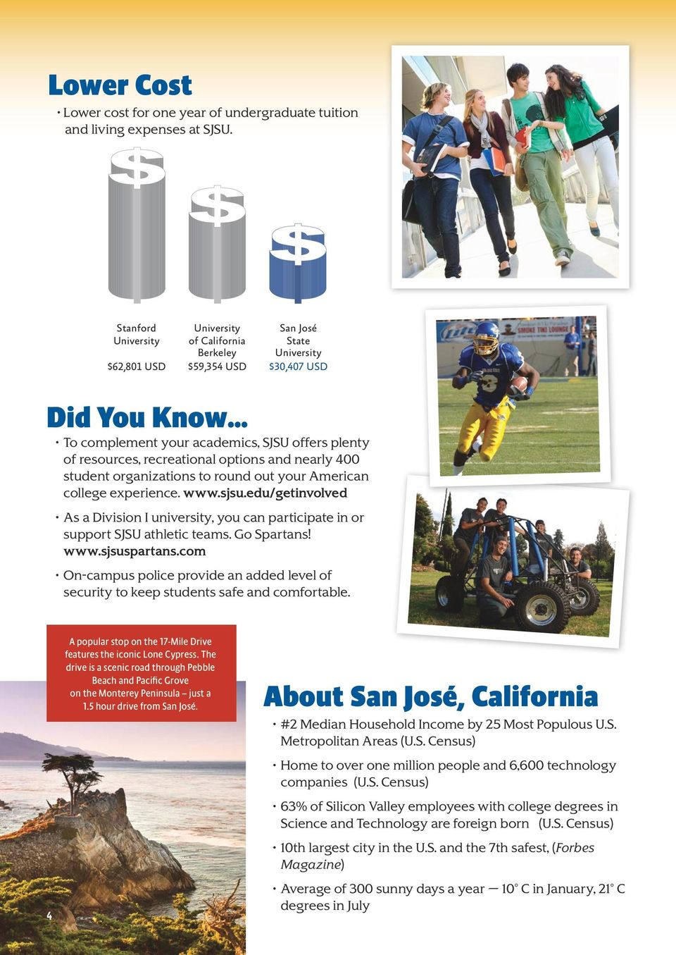 recreational options and nearly 400 student organizations to round out your American college experience. www.sjsu.