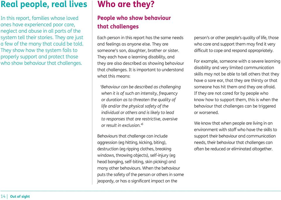 People who show behaviour that challenges Each person in this report has the same needs and feelings as anyone else. They are someone s son, daughter, brother or sister.