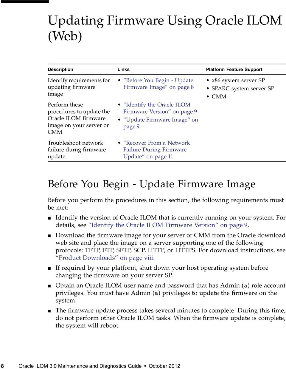 Image on page 9 Recover From a Network Failure During Firmware Update on page 11 x86 system server SP SPARC system server SP CMM Before You Begin - Update Firmware Image Before you perform the