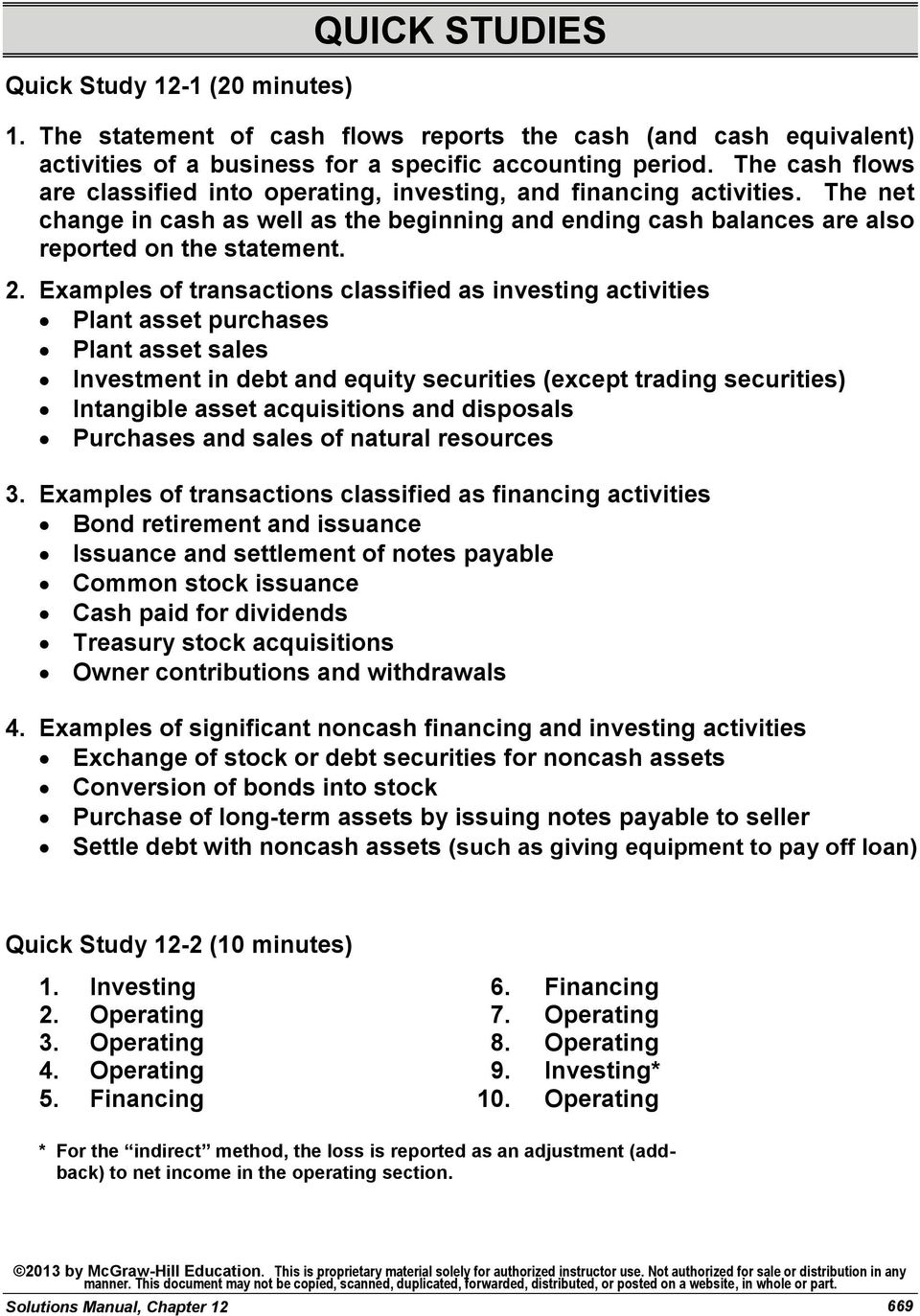 Examples of transactions classified as investing activities Plant asset purchases Plant asset sales Investment in debt and equity securities (except trading securities) Intangible asset acquisitions