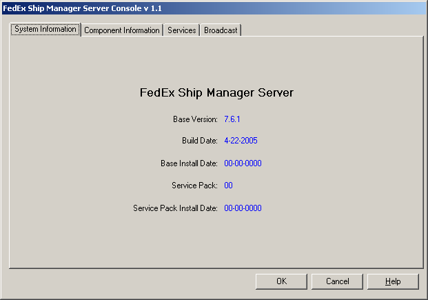 Chapter Five: Using FSMS Utilities FedEx Ship Manager Server Console The FedEx Ship Manager Server Console is a multipurpose utility used to view information about FSMS and to configure alert
