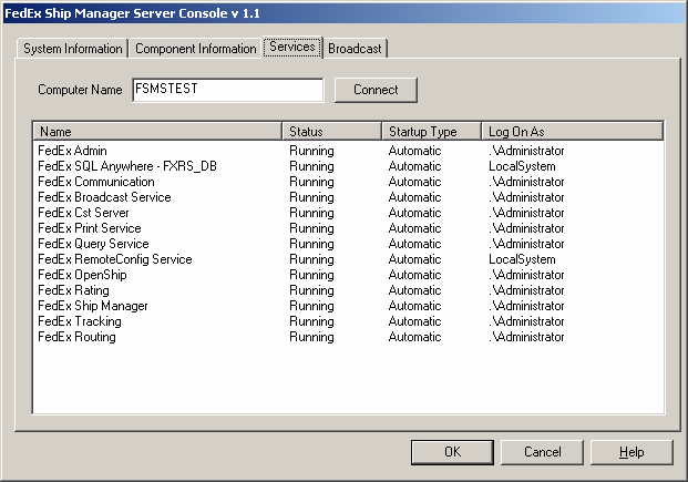 Chapter Five: Using FSMS Utilities The Services tab is similar in function to the Windows Services utility that contains all Windows services.