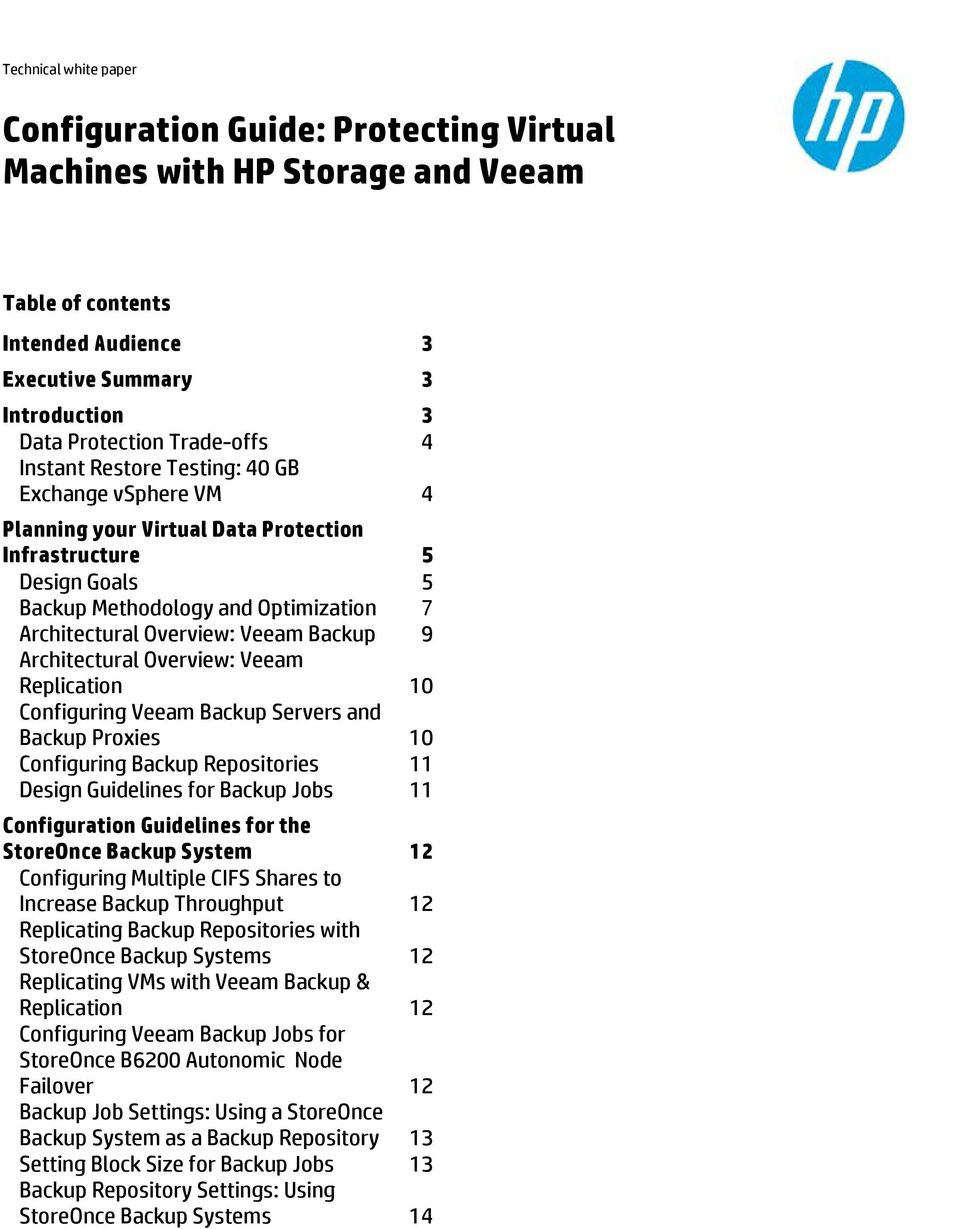 Architectural Overview: Veeam Replication 10 Configuring Veeam Backup Servers and Backup Proxies 10 Configuring Backup Repositories 11 Design Guidelines for Backup Jobs 11 Configuration Guidelines