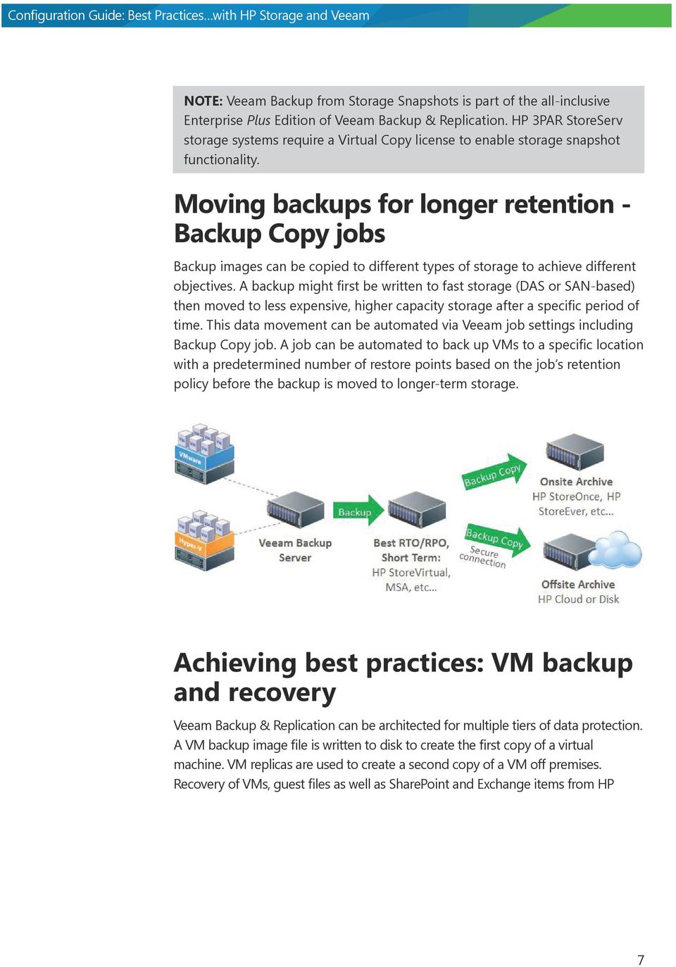 Moving backups for longer retention - Backup Copy jobs Backup images can be copied to different types of storage to achieve different objectives.