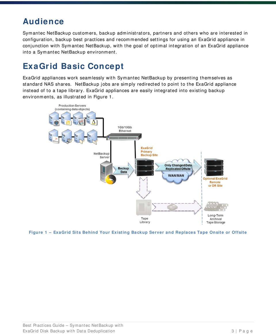 ExaGrid Basic Concept ExaGrid appliances work seamlessly with Symantec NetBackup by presenting themselves as standard NAS shares.