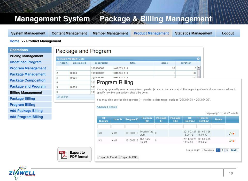 Package Composition Package and Program Billing Management Package Billing