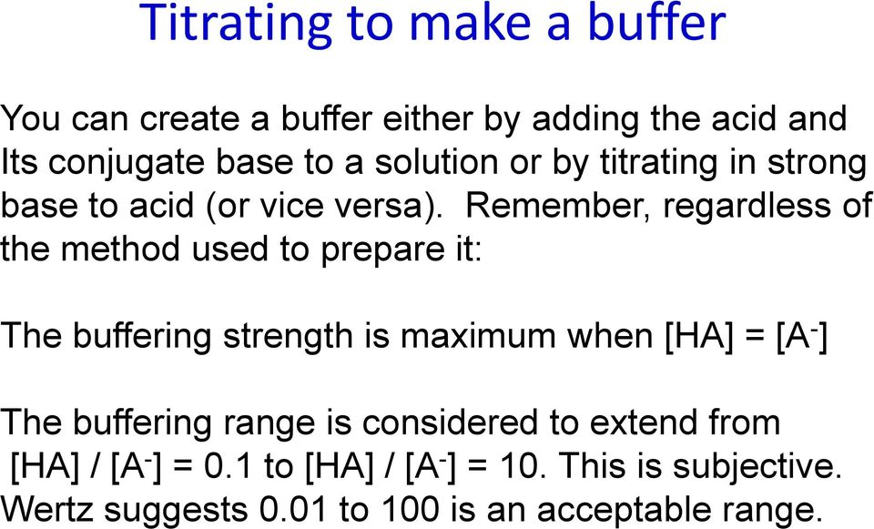Remember, regardless of the method used to prepare it: The buffering strength is maximum when [HA] = [A - ]