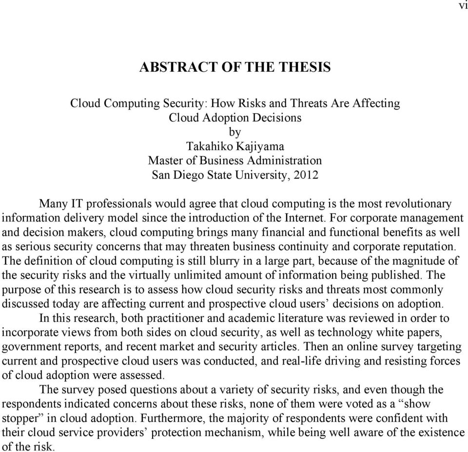 thesis report on cloud computing