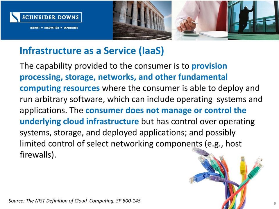 The consumer does not manage or control the underlying cloud infrastructure but has control over operating systems, storage, and deployed