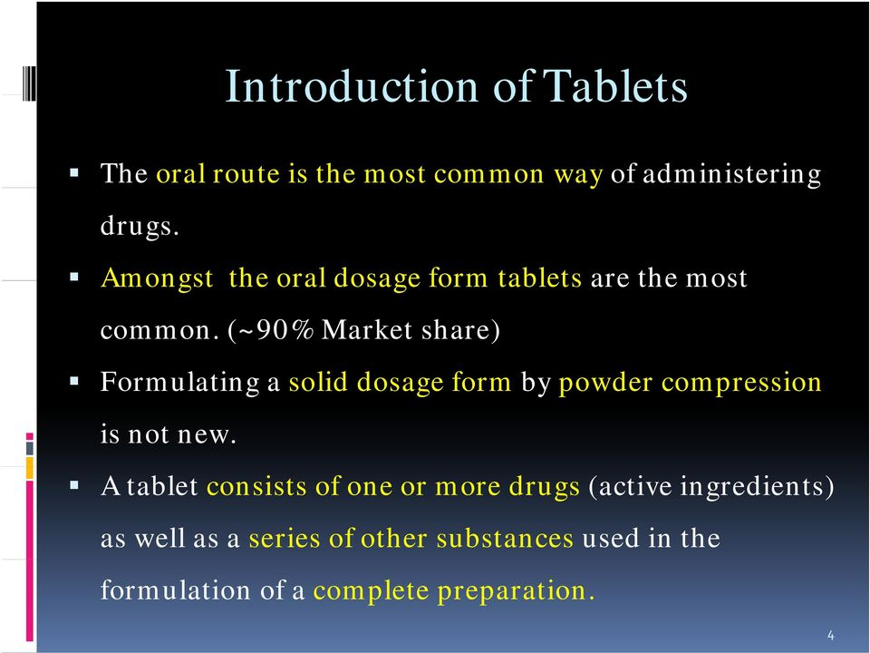 (~90% Market share) Formulating a solid dosage form by powder compression is not new.