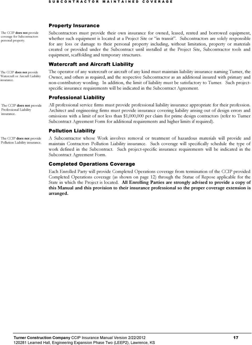 Ccip insurance manual turner construction company pdf property insurance subcontractors must provide their own insurance for owned leased rented and borrowed platinumwayz