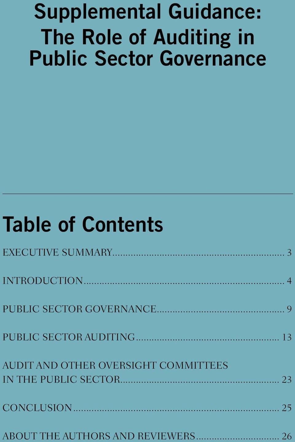 .. 4 PUBLIC SECTOR GOVERNANCE... 9 PUBLIC SECTOR AUDITING.