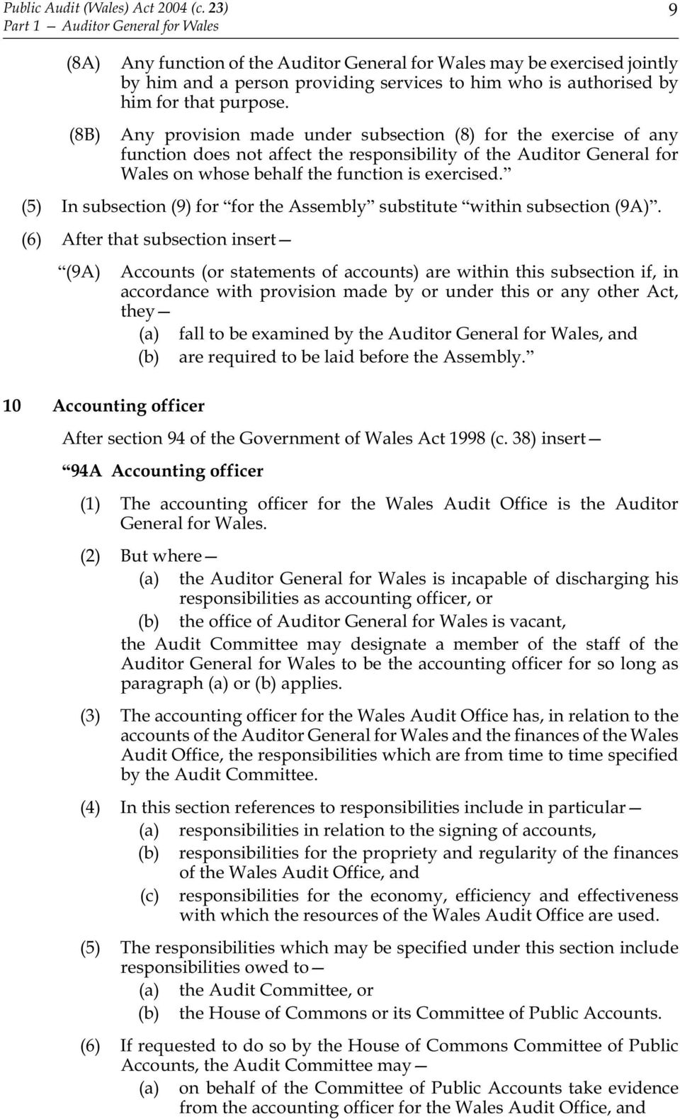 purpose. Any provision made under subsection (8) for the exercise of any function does not affect the responsibility of the Auditor General for Wales on whose behalf the function is exercised.