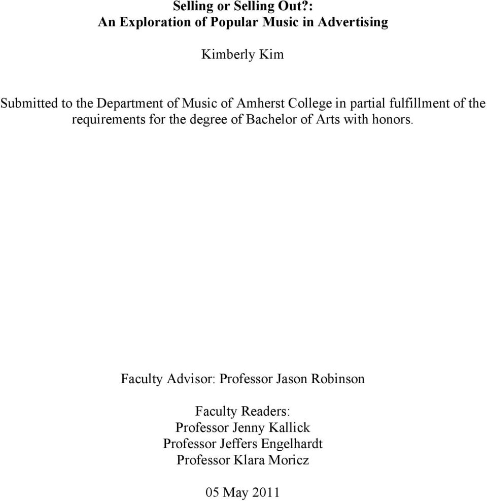 Music of Amherst College in partial fulfillment of the requirements for the degree of Bachelor