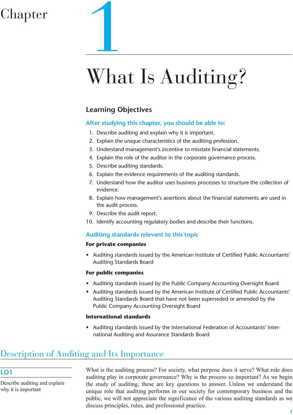 Explain the role of the auditor in the corporate governance process. 5. Describe auditing standards. 6. Explain the evidence requirements of the auditing standards. 7.