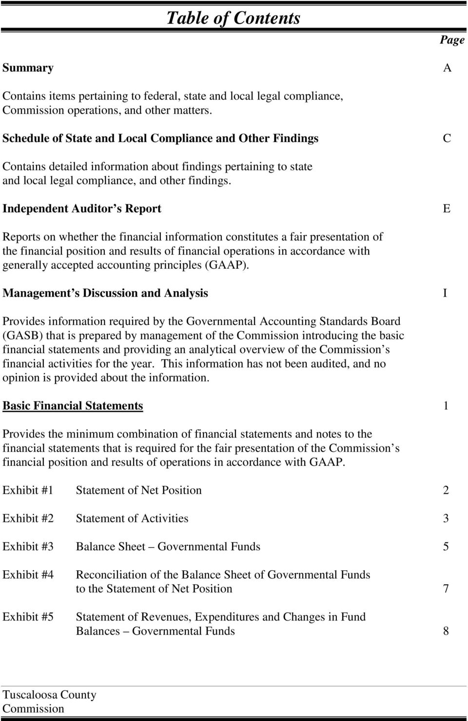 Independent Auditor s Report E Reports on whether the financial information constitutes a fair presentation of the financial position and results of financial operations in accordance with generally