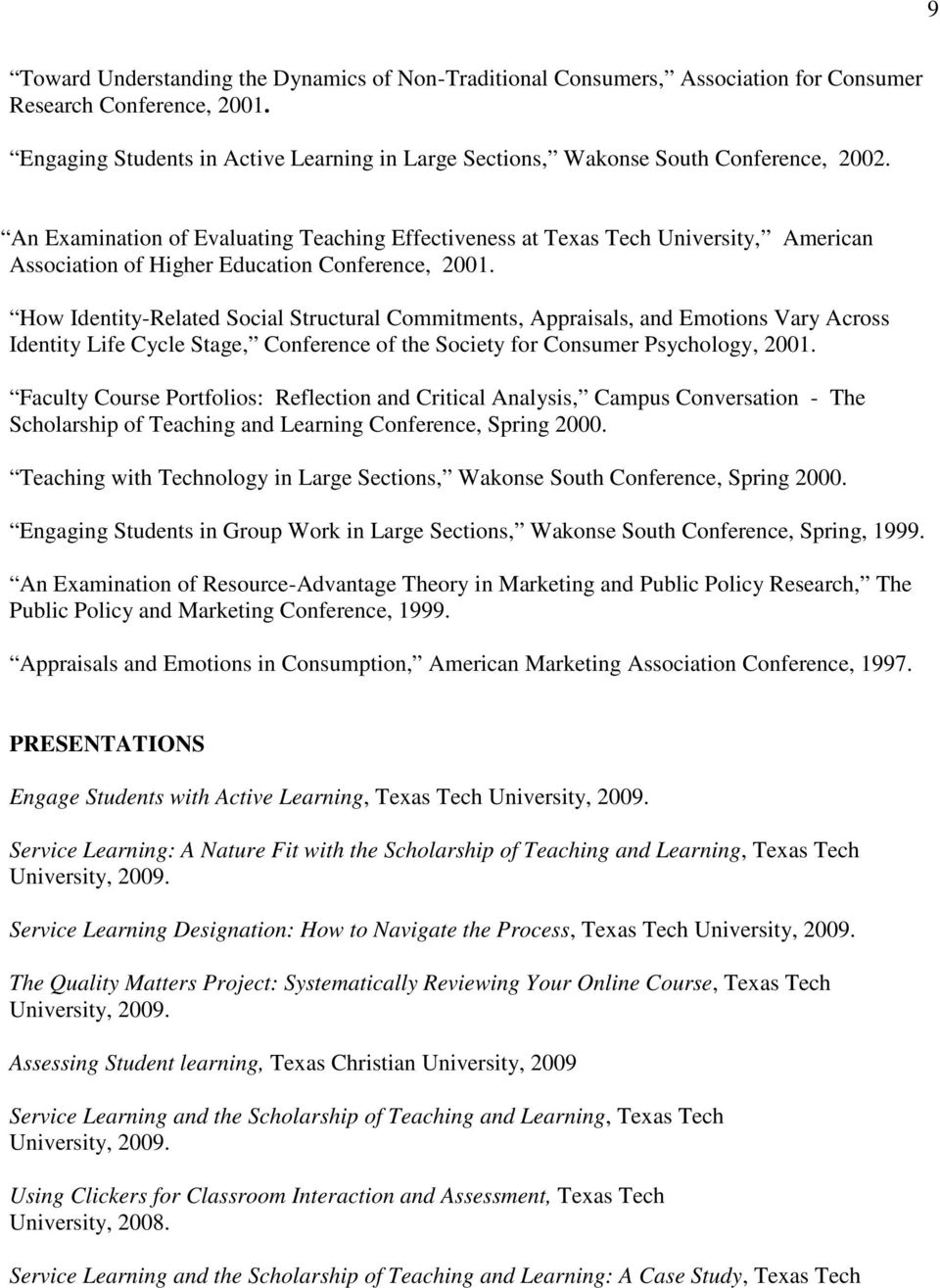 An Examination of Evaluating Teaching Effectiveness at, American Association of Higher Education Conference, 2001.