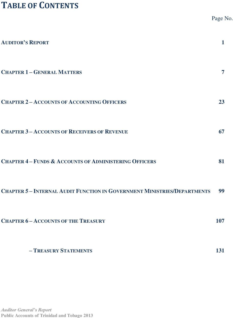 CHAPTER 3 ACCOUNTS OF RECEIVERS OF REVENUE 67 CHAPTER 4 FUNDS & ACCOUNTS OF ADMINISTERING