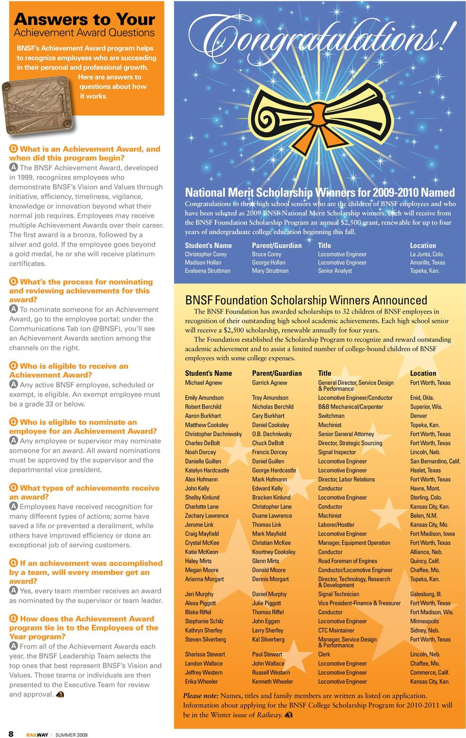 Hats off to BNSF s 2008 Employees of the Year! - PDF
