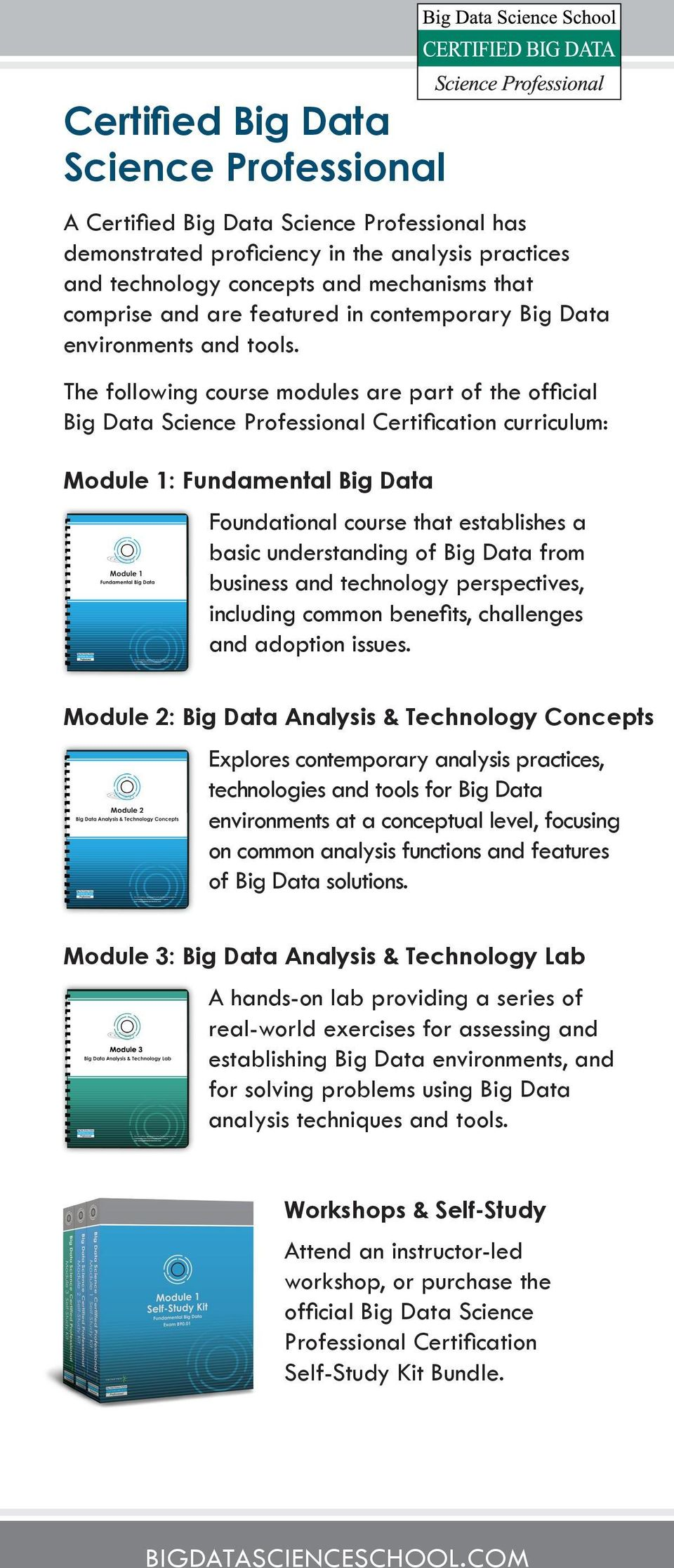 The following course modules are part of the official Big Data Science Professional Certification curriculum: Module 1: Fundamental Big Data Foundational course that establishes a basic understanding