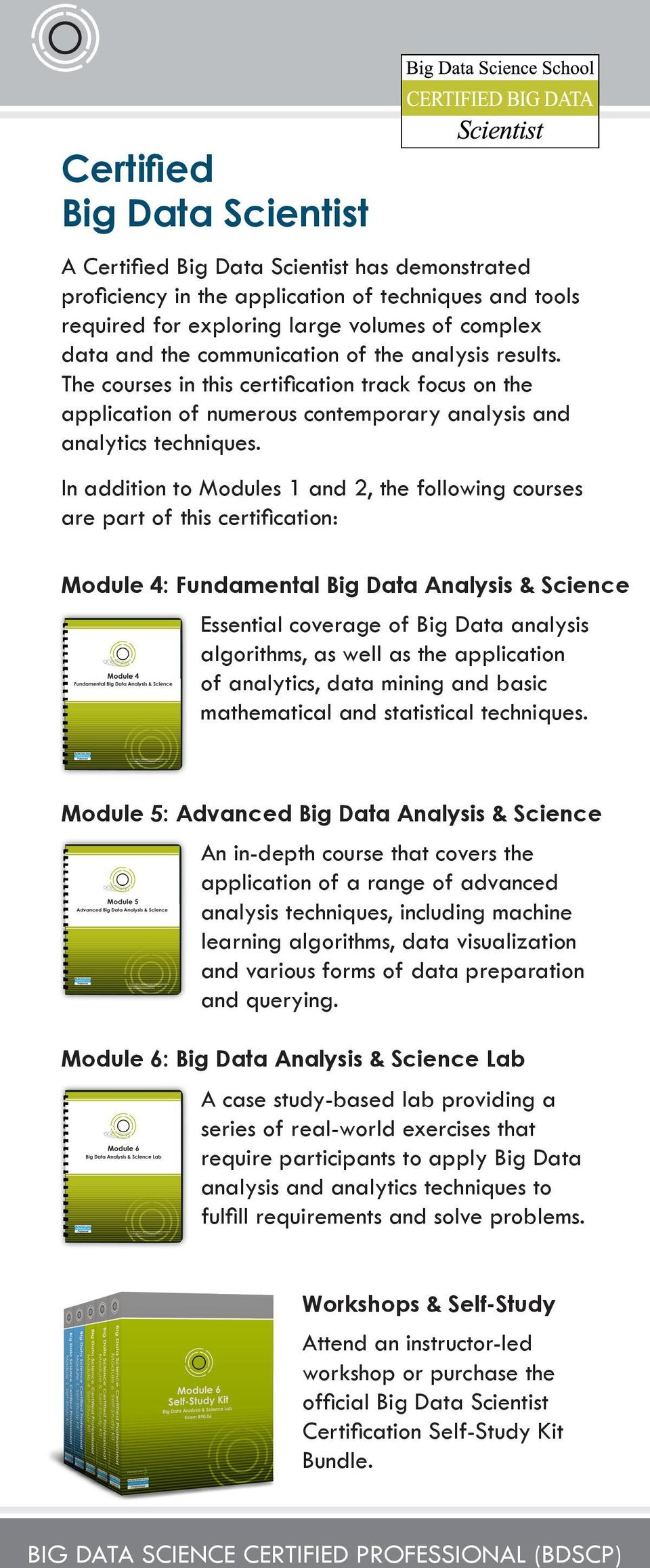 In addition to Modules 1 and 2, the following courses are part of this certification: Module 4: Fundamental Big Data Analysis & Science Essential coverage of Big Data analysis algorithms, as well as