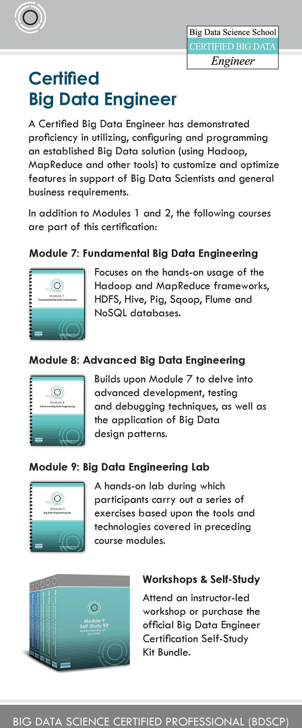 In addition to Modules 1 and 2, the following courses are part of this certification: Module 7: Fundamental Big Data Engineering Focuses on the hands-on usage of the Hadoop and MapReduce frameworks,