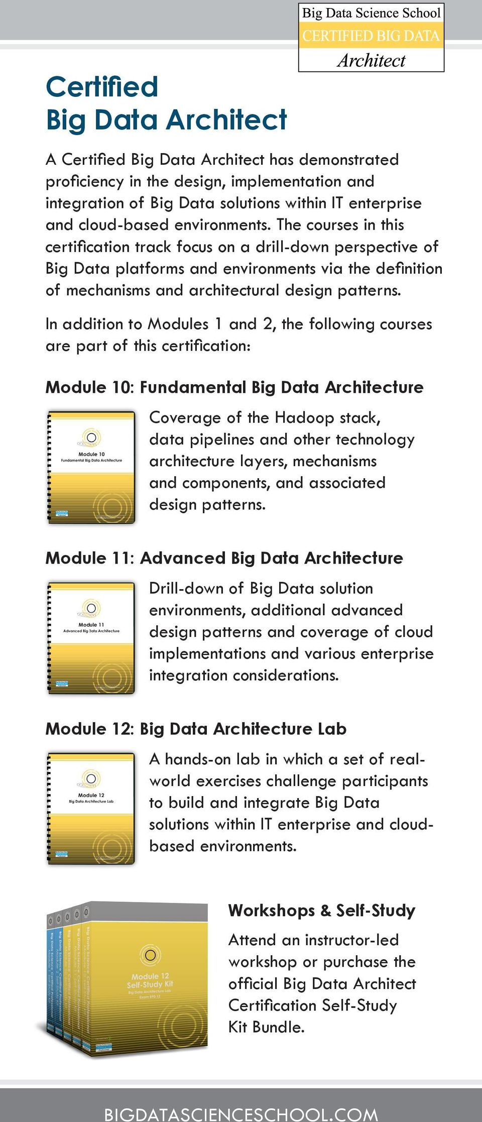 In addition to Modules 1 and 2, the following courses are part of this certification: Module 10: Fundamental Big Data Architecture Coverage of the Hadoop stack, data pipelines and other technology