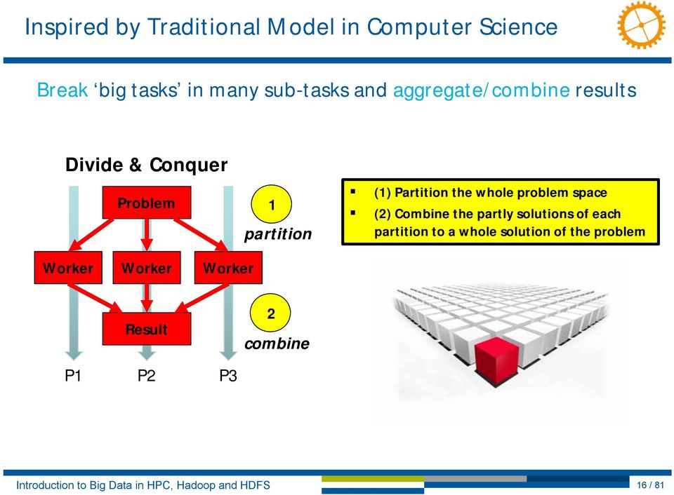 Partition the whole problem space (2) Combine the partly solutions of each