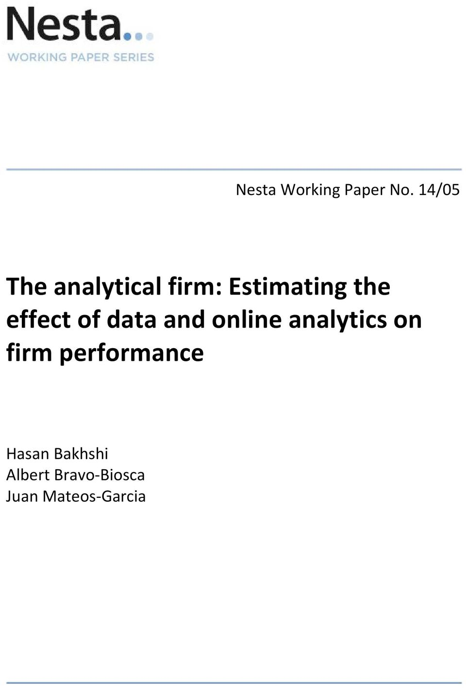 effect of data and online analytics on firm