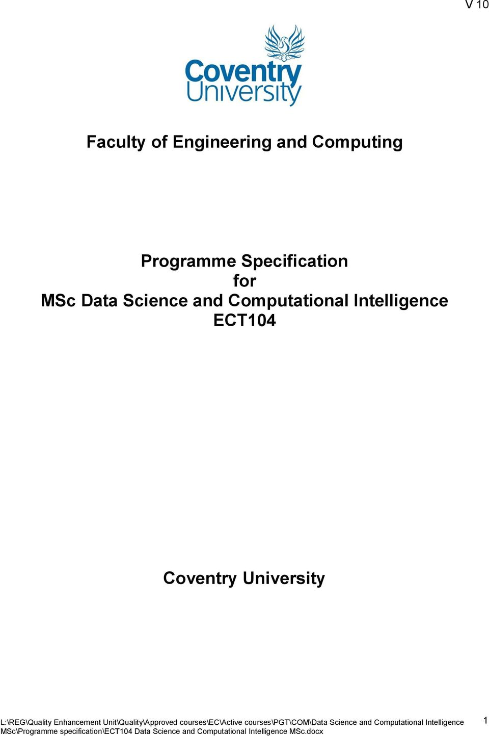 for MSc Data Science and