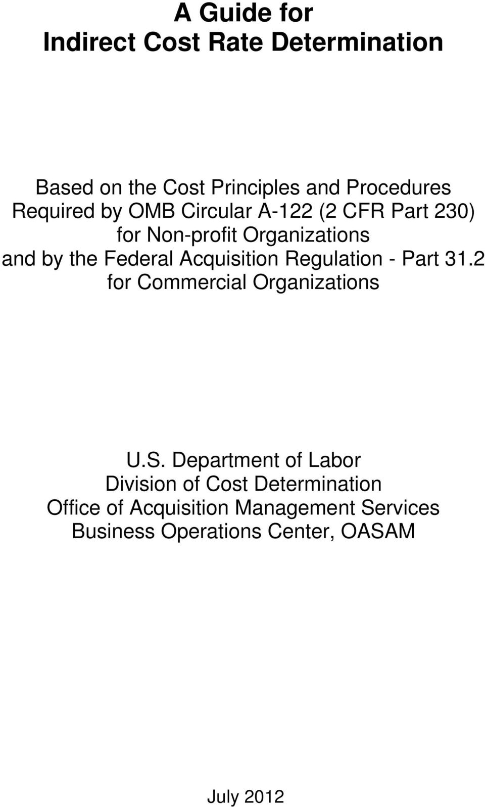Acquisition Regulation - Part 31.2 for Commercial Organizations U.S.
